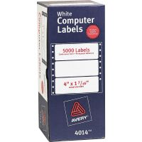 Avery Dot Matrix Mailing Labels, 1 Across, 1 7/16 x 4, White, 5000/Box AVE4014