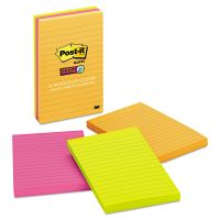 Post-it Notes Super Sticky Pads in Rio de Janeiro Colors, Lined, 4 x 6, 90-Sheet, 3/Pack MMM6603SSUC