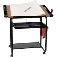 Flash Furniture Adjustable Drawing and Drafting Table with Black Frame and Dual Wheel Casters [NAN-JN-2739-GG] FHFNANJN2739GG