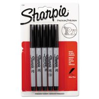 Sharpie Permanent Markers, Ultra Fine Point, Black, 5/Pack SAN37665PP