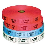 PM Company Admit-One Ticket Multi-Pack, 4 Rolls, 2 Red, 1 Blue, 1 White, 2000/Roll PMC59001
