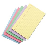 Universal Index Cards, 3 x 5, Blue/Violet/Green/Cherry/Canary, 100/Pack UNV47216