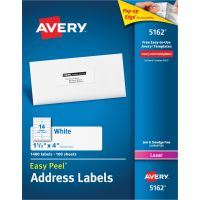 Avery Easy Peel Mailing Address Labels, Laser, 1 1/3 x 4, White, 1400/Box AVE5162