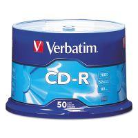 Verbatim CD-R Discs, 700MB/80min, 52x, Spindle, Silver, 50/Pack VER94691