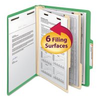 Smead Top Tab Classification Folder, Two Dividers, Six-Section, Letter, Green, 10/Box SMD14002