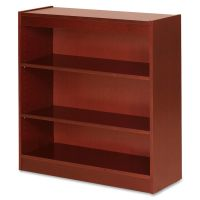 Lorell 3-Shelf Panel Wood Veneer Bookcase LLR89051