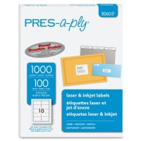 PRES-a-ply Laser Shipping Labels, 2 x 4, White, 1000/Box AVE30603