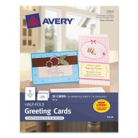 Avery Half-Fold Greeting Cards, Inkjet, 5 1/2 x 8 1/2, Matte White, 20/Box w/Envelopes AVE3265
