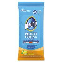 Pledge Multi-Surface Cleaner Wet Wipes, Cloth, Fresh Citrus, 7 x 10, 25/Pack, 12/Carton SJN644080