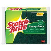 "Scotch-Brite Heavy-Duty Scrub Sponge, 4 1/2"" x 2 7/10"" x 3/5"", Green/Yellow, 6/Pack MMM426"