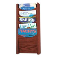 Safco Solid Wood Wall-Mount Literature Display Rack, 11 1/4 x 3 3/4 x 23 3/4, Mahogany SAF4330MH