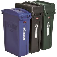 Rubbermaid Commercial Slim Jim Recycling Container, Rectangular, 23 gal, Black/Blue/Green RCP1998897