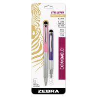 Zebra StylusPen Telescopic Ballpoint Pen/Stylus, Black Ink, Violet/Pink Barrel ZEB33672