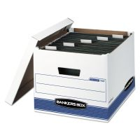 Bankers Box HANG'N'STOR Storage Box, Legal/Letter, Lift-off Lid, White/Blue, 4/Carton FEL00785