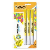 BIC Brite Liner Erasable Highlighter, Chisel Tip, Fluorescent Yellow, 3/Pack BICBLERP31YW