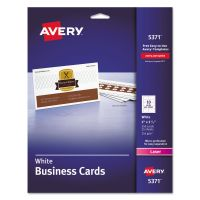 Avery Printable Microperf Business Cards, Laser, 2 x 3 1/2, White, Uncoated, 250/Pack AVE5371
