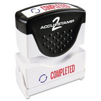 ACCUSTAMP2 Pre-Inked Shutter Stamp, Red/Blue, COMPLETED, 1 5/8 x 1/2 COS035538