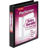 "Cardinal Performer ClearVue 3-Ring View Binder, 1"" Capacity, Slant-D Ring, Black CRD17201"
