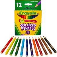 Crayola Short Barrel Colored Woodcase Pencils, 3.3 mm, 12 Assorted Colors/Set CYO684112