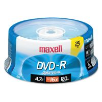 Maxell DVD-R Discs, 4.7GB, 16x, Spindle, Gold, 25/Pack MAX638010