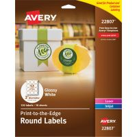 "Avery Round True Print Labels, 2"" dia, White, 120/Pack AVE22807"