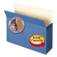 """Smead 5 1/4"""" Exp Colored File Pocket, Straight Tab, Letter, Blue SMD73235"""