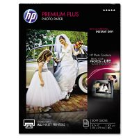 HP Premium Plus Photo Paper, 80 lbs., Soft-Gloss, 8-1/2 x 11, 50 Sheets/Pack HEWCR667A