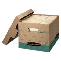 Bankers Box R-KIVE Storage Box, Letter/Legal, Locking Lift-off Lid, Kraft/Green, 12/Carton FEL12775