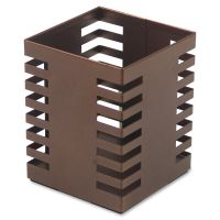 Lorell Stamped Metal Square Pencil Cup LLR84249