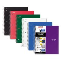 Five Star Wirebound 5-Subject Notebook, College Rule, 11 x 8 1/2, 200 Sheets, Assorted MEA06208