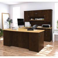 Bestar Manhattan U-shaped workstation in Secret Maple & Chocolate BESBES8141175
