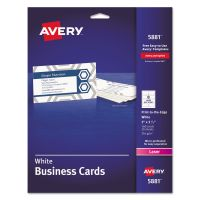Avery Print-to-the-Edge Microperf Business Cards, Color Laser, 2 x 3 1/2, Wht, 160/Pk AVE5881