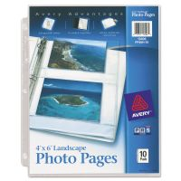Avery Photo Storage Pages for Four 4 x 6 Horizontal Photos, 3-Hole Punched, 10/Pack AVE13406
