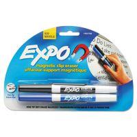EXPO Magnetic Clip Eraser w/2 Markers, Fine, Black/Blue, 1 Set SAN1802768