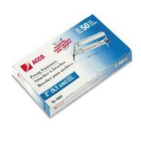 """ACCO Premium Two-Piece Paper File Fasteners, 2"""" Cap., 2 3/4"""" Center, Silver, 50/Box ACC70022"""