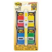 "Post-it Flags Page Flag Value Pack, Assorted, 200 1"" Flags + Highlighter with 50 1/2"" Flags MMM680RYBGVA"