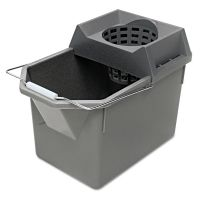Rubbermaid Commercial Pail/Strainer Combination, 15qt, Steel Gray RCP6194STL