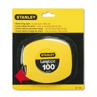 "Stanley Long Tape Measure, 1/8"" Graduations, 100ft, Yellow BOS34106"
