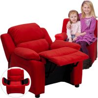 Flash Furniture Deluxe Padded Contemporary Red Microfiber Kids Recliner with Storage Arms FHFBT7985KIDMICREDGG