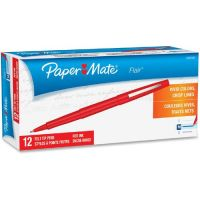 Paper Mate Point Guard Flair Needle Tip Stick Pen, Red Ink, 0.7mm, Dozen PAP8420152