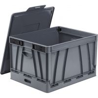 Storex Collapsible Crate with Lid, Gray (Case of 4) STX61810U04C