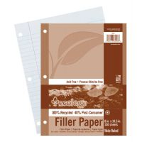Pacon Ecology Filler Paper, 8 x 10-1/2, Wide Ruled, 3-Hole Punch, White, 150 Sheets/PK PAC3203