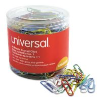 Universal Plastic-Coated Wire Paper Clips, No. 1, Assorted Colors, 500/Pack UNV95001