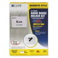 C-Line Magnetic Name Badge Holder Kit, Horizontal, 4w x 3h, Clear, 20/Box CLI92943