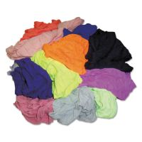 HOSPECO New Colored Knit Polo T-Shirt Rags, Multicolored, Multi-Fabric,10 lb Polybag HOS24510BP