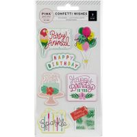 Confetti Wishes Embossed Puffy Stickers NOTM366011