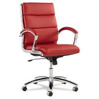Alera Neratoli Series Mid-Back Swivel/Tilt Chair, Red Soft Leather, Chrome Frame ALENR4239