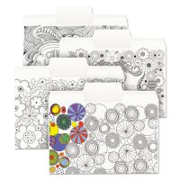 """Smead SuperTab Coloring File Folders, 1/3 Cut, 3/4"""" Expansion, Letter, White, 24/Pack SMD11649"""