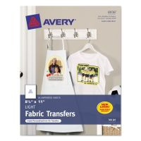 Avery Light Fabric Transfers for Inkjet Printers, 8 1/2 x 11, White, 18/Pack AVE8938