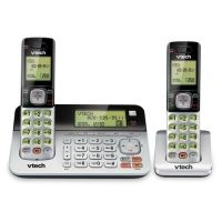 VTech CS6859-2 DECT 6.0 Expandable Cordless Phone with Answering System and Dual Caller ID/Call Waiting, Silver/Black with 2 Handsets SYNX3728619